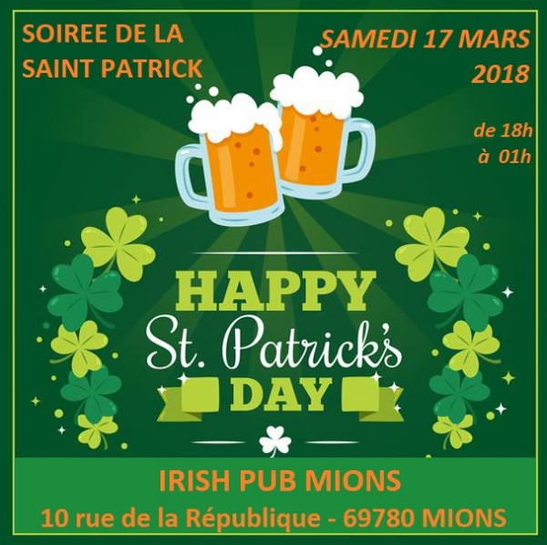 Fête de la St. Patrick : samedi 17 mars 2018